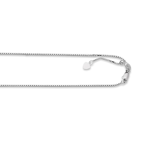 14k White Gold Box Chain Necklace with Lobster Clasp
