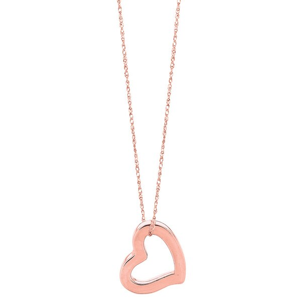 14k Rose Gold Carded Rope Chain Necklace with Square Tube Open Heart Pendant and Lobster Clasp