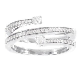 H Star Sterling Silver 1/3ct TDW Diamond Swirl Promise Ring (I-J, I2-I3)