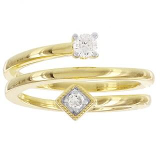 H Star Gold over Silver 1/5ct TDW Diamond Swirl Promise Ring (I-J, I2-I3)