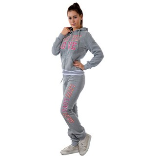 Ladies 2-piece Light Fleece Set with Printed Waistband on Top and Bottom, Applique, Embroidered and Rhinestones