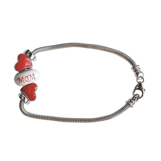 Mothers Day Red Hearts Silver Charm Bracelet