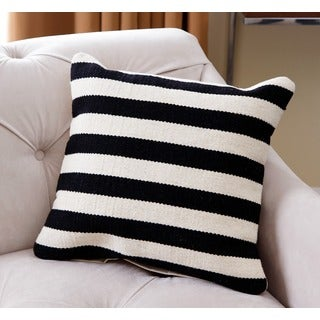 Abbyson Living Pacifica 20 inch Black and White Striped Wool Throw Pillow