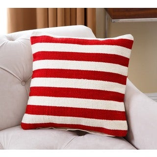 Abbyson Living Pacifica 20 inch Red and White Striped Wool Throw Pillow