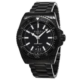 Gucci Men's YA136205 'Dive XL' Black Dial Black Stainless Steel Swiss Quartz Watch