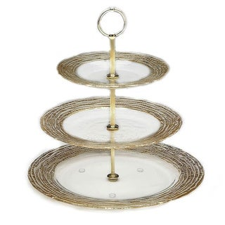 Magara Gold Leafed 3 Tier Serving Tray
