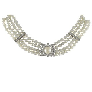 Luxiro Rhodium Finish Faux Pearls Pave Crystals 4-row Choker Necklace