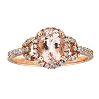 Anika and August 14k Rose Gold Oval-cut Mozambique Morganite and 1/4ct TDW Diamond Ring (G-H, I1-I2)