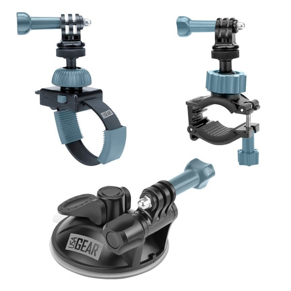Extreme Sports Action Camera Mount Bundle with Included Suction Cup , Handlebar and Zip Mount by USA Gear 17941184