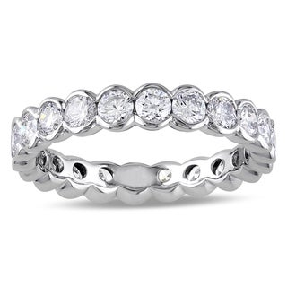 Miadora Signature Collection 14k White Gold 2ct TDW Semi-Bezel Diamond Eternity Ring (G-H, I1-I2)