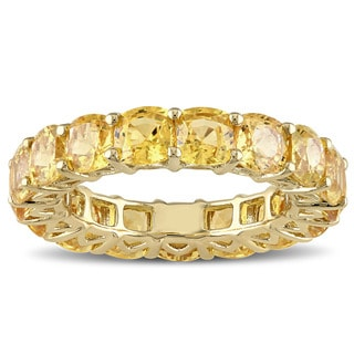 Miadora Signature Collection 14k Yellow Gold Cushion-cut Yellow Sapphire Eternity Ring
