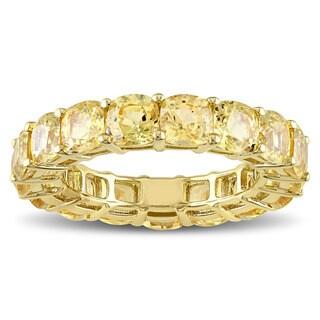 Miadora Signature Collection 14k Yellow Gold Cushion-cut Light Yellow Sapphire Eternity Ring