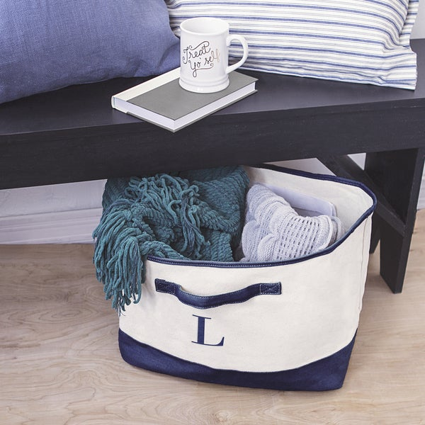Personalized Navy Canvas Square Storage Bin