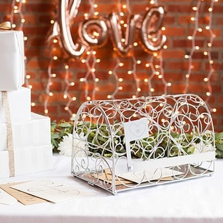 Personalized Heart Silver Reception Gift Card Mailbox Holder