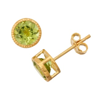 Gioelli Goldplated Silver Peridot Bezel Stud Earrings