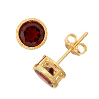 Gioelli Goldplated Silver Garnet Bezel Stud Earrings