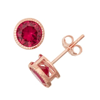 Gioelli Rose Goldplated Silver Ruby Bezel Stud Earrings