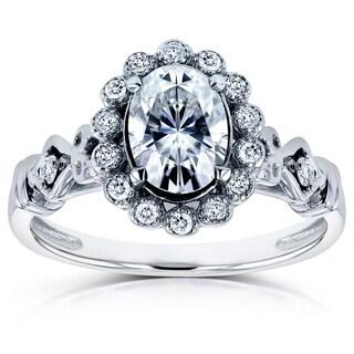 Annello 14k White Gold Forever Brilliant Moissanite and 1/8ct TDW Diamond Antique Ring (H-I, I1-I2)