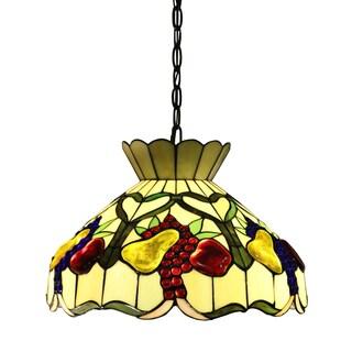 Alliena 2-light Fruit Basket 16-inch Multi-color Tiffany-style Ceiling Lamp