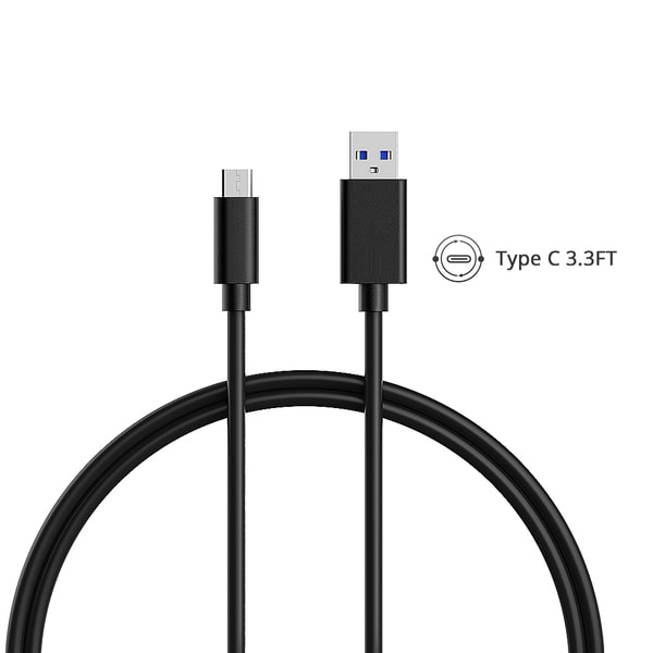 USB-C, VicTec 3.3ft/1M Type C Cable to Standard USB 3.0 With Reversible Connector (Black)