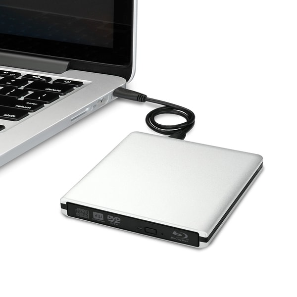 Silver USB 3.0 External 3D Blu-ray/ DVD/ CD-RW Burner Drive