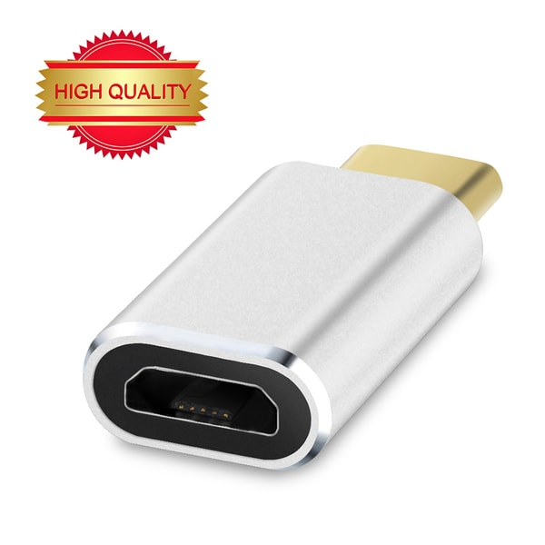 VicTec Reversible Design USB Type-C (Male) to Micro USB (Female) Convert Connector Adapter for Apple MacBook,etc. -Silver