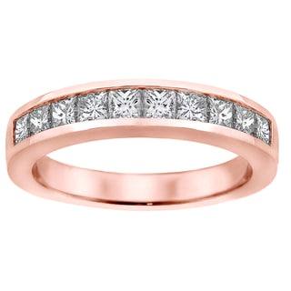 14k/18k Rose Gold 1ct TDW Channel-set Princess-cut Diamond Wedding Ring (G-H, SI1-SI2)