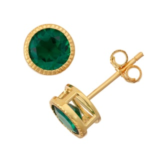 Gioelli Goldplated Silver Emerald Bezel Stud Earrings