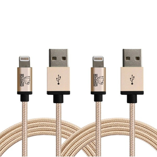 Rhino 6.6 ft. Paracord Sync/ Charge MFI Lightning Cable for Apple iPhone 5/ 5s/ 5c/ 6/ 6s/ 6+/ 6s+/ 7 /7+, and iPad (Pack of 2)