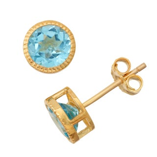 Gioelli Goldplated Silver Swiss Blue Topaz Bezel Stud Earrings