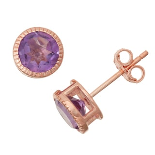 Gioelli Rose Goldplated Silver Amethyst Bezel Stud Earrings