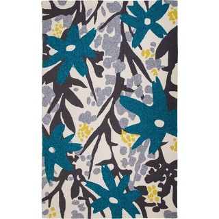 Hand Tufted Bloom Grey/Turquoise (8'x10')