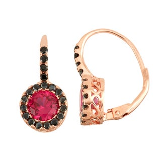 Gioelli Rose Goldplated Silver Ruby and Black Spinel Leverback Earrings