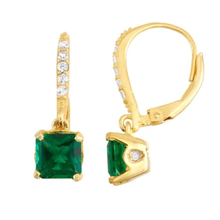 Gioelli Goldplated Silver Diamond Accent Emerald Leverback Earrings