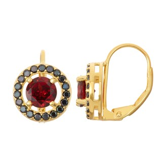 Gioelli Goldplated Silver Garnet and Black Spinel Leverback Earrings