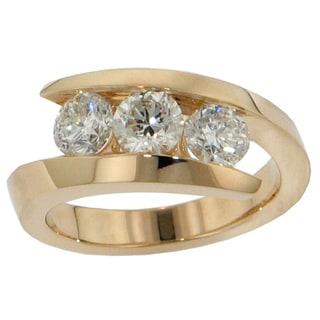 14k/18k Yellow Gold 1ct TDW 3-stone Channel-set Brilliant-cut Diamond Ring (G-H, SI1-SI2)