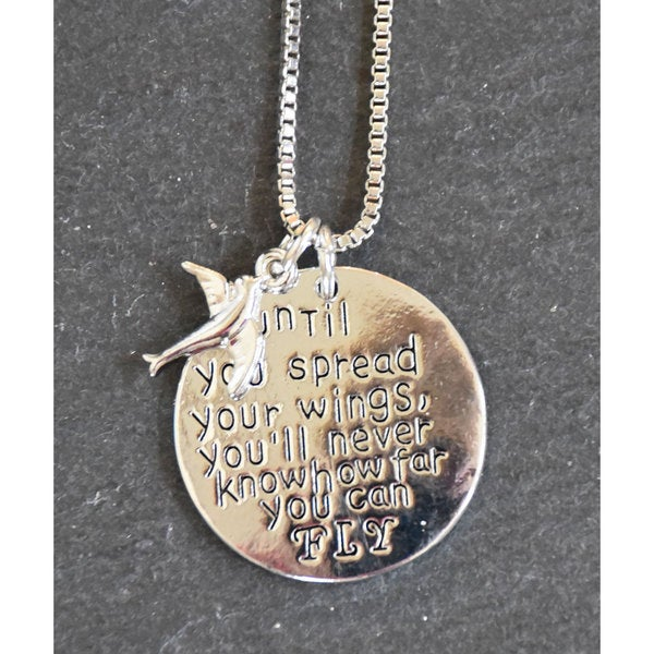 Mint Jules 'Until you spread your wings, you'll never know how far you can fly' Inspirational Pendant