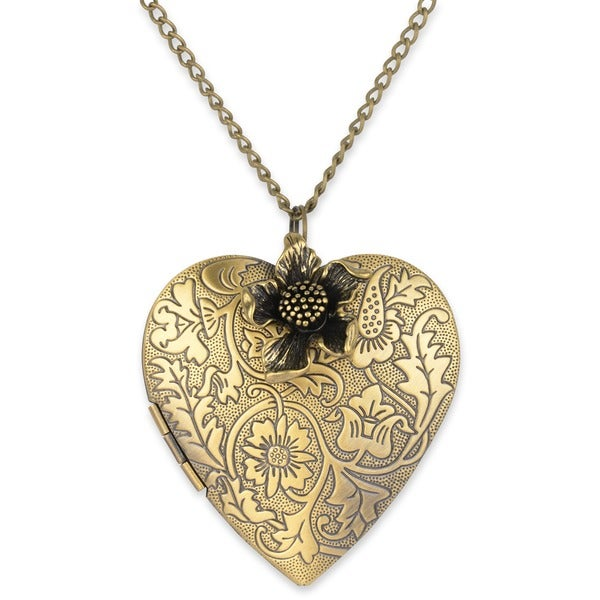 Ornate Heart Picture 28-inch Locket Necklace with Flower Charm