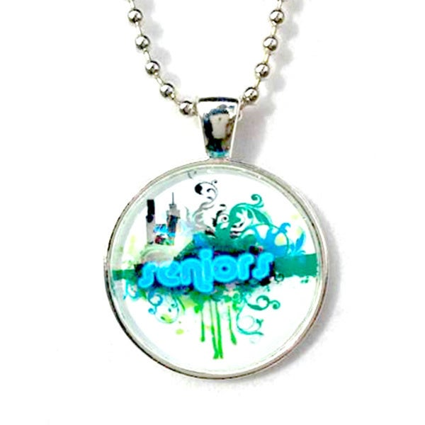 High School Senior Blue Graduation Glass Pendant Necklace