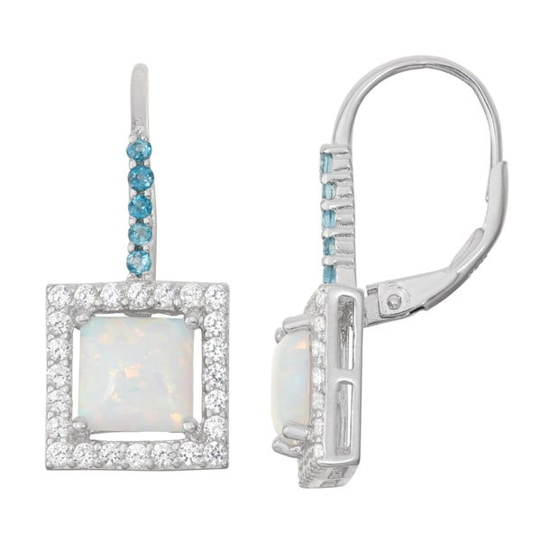 Gioelli Sterling Silver Opal and London Blue Topaz Leverback Earrings