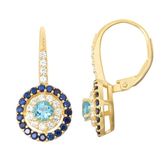 Gioelli Goldplated Silver Swiss Blue Topaz, Sapphire and White Sapphire Leverback Earrings