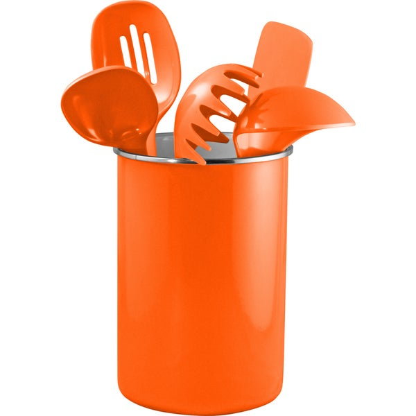 Reston Lloyd Enamel on Steel Utensil Holder and 5 Piece Utensil Set in Orange