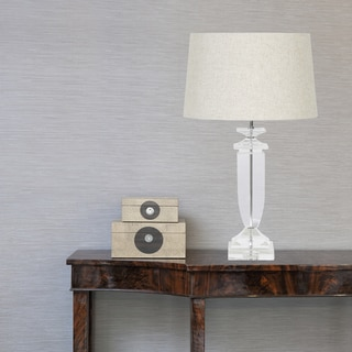 Urban Designs Crystal Glass Table Lamp With Round Beige Shade