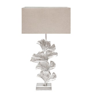Urban Designs Handcrafted Nickel Leaf Art Table Lamp