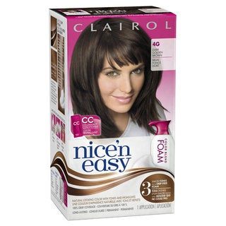 Clairol Nice 'n Easy Foam Hair Color 4G Dark Golden Brown Kit (Pack of 2)