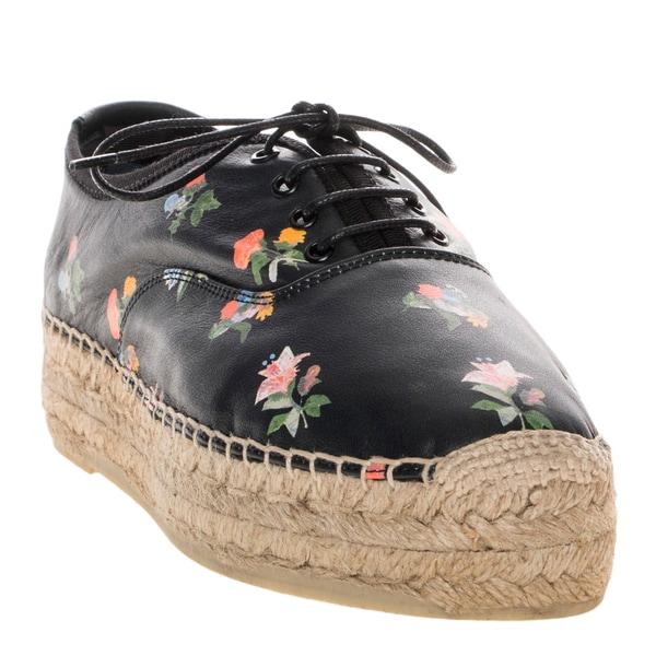 Saint Laurent Prairie Flower Print Lace-Up Leather Espadrilles