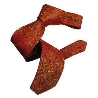Dmitry Men's Orange Italian Floral Patterned Silk Tie
