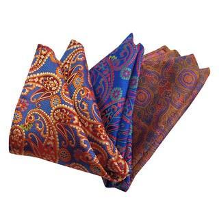 Dmitry Men's Italian Silk Blue/ Royal Blue/ Orange Pocket Squares (Pack of 3)