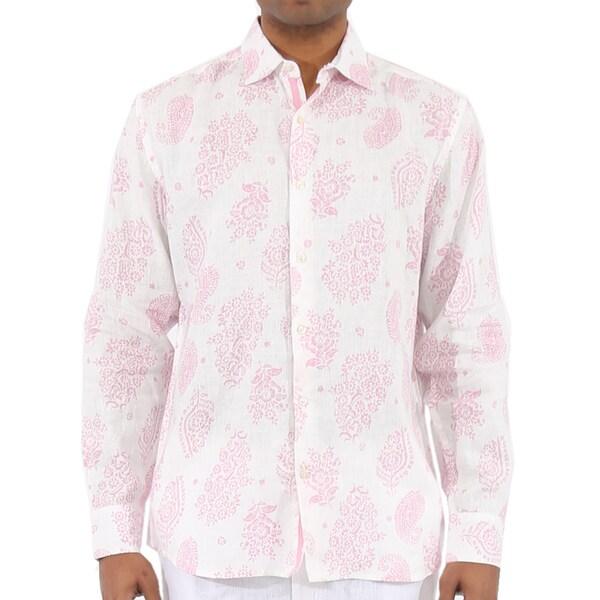 Men's Long Sleeve Paisley Print Linen Shirt