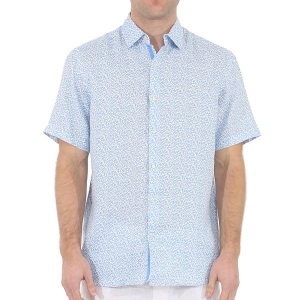 Short Sleeve Micro Vine Print Linen Shirt